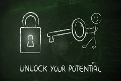 Unlock your potential, funny character with key and lock Stock Images