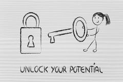 Unlock your potential, funny girl being successful. Funny girl character showing how to unlock the potential Royalty Free Stock Image