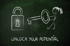 Unlock your potential, funny girl being successful Royalty Free Stock Image