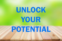 Unlock Your Potential, Motivational Inspirational Quotes stock image