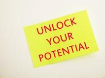 Unlock Your Potential, Motivational Inspirational Quotes stock photos