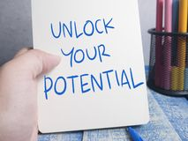 Unlock Your Potential, Motivational Inspirational Quotes. Unlock Your Potential, business motivational inspirational quotes, words typography concept stock images