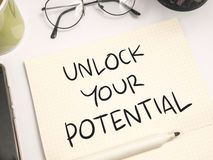 Unlock Your Potential, Motivational Inspirational Quotes stock photo