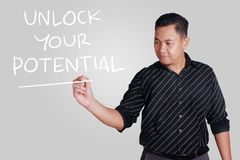 Unlock Your Potential, Motivational Inspirational Quotes royalty free stock photography