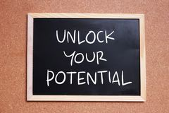 Unlock Your Potential, Motivational Inspirational Quotes royalty free stock images
