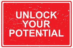 Unlock your potential. A red sign with the text 'unlock your potential Royalty Free Stock Photography