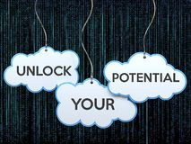 Unlock your potential on cloud banner royalty free illustration
