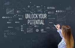 Unlock your potential with young woman royalty free stock image
