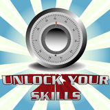 Unlock your skills. Abstract colorful illustration with a safe lock dial above the text unlock your skills written with huge letters Stock Images