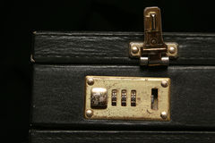 Unlocked. Old combination lock suitcase royalty free stock photo