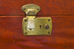 Unlocked Brass Latch on Vintage Luggage Royalty Free Stock Images