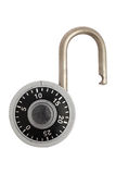 Unlocked combination padlock. A unlocked combination padlock isolated on white background. Path included Stock Photos