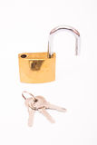 Unlocked Golden Padlock And Key. Isolated On White Background, Closeup Stock Photography
