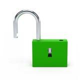 Unlocked green lock. Royalty Free Stock Photos