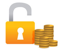 Unlocked money illustration concept design Royalty Free Stock Photos