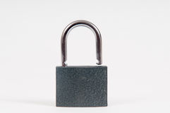 Unlocked open padlock. Padlock isolated on white in an open , unlocked position Royalty Free Stock Photos