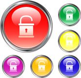 Unlocked Pad Lock Button Royalty Free Stock Images