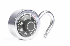 Unlocked Padlock. An unlocked padlock with a number dial on a white background Stock Photos