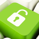 Unlocked Padlock Computer Key In Green Showing Access Or Protect Royalty Free Stock Photos