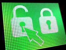 Unlocked Padlock Computer Screen Stock Images