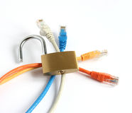 Unlocked padlock with four computer network cables. Unlocked open padlock with red blue yellow and grey computer network cables isolated on white background Stock Photos