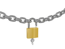 Unlocked padlock with key on the chrome chain. Chrome-plated chain with unlocked padlock and key on white background. 3D render Royalty Free Stock Photo