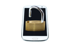 Unlocked padlock on a mobile phone. Isolated on white background. Concept photo of technology, mobile and tablet computer security Stock Photo