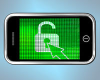 Unlocked Padlock Mobile Phone Shows Access Or Protection Stock Photos