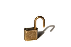Unlocked padlock and it's shadow. Isolated on white Royalty Free Stock Images