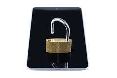 Unlocked padlock on a tablet computer Royalty Free Stock Photos