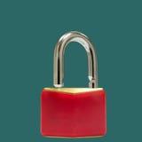 Unlocked red padlock Stock Images