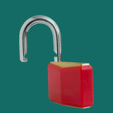 Unlocked red padlock Royalty Free Stock Photos