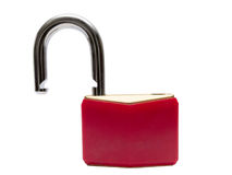 Unlocked red padlock. Isolated on white background. Close up shot Royalty Free Stock Photos