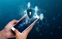 Unlocked smartphone lock Internet phone hand Business people press the phone to communicate in the Internet. Cyber security concep