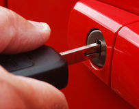 Unlocking car door Royalty Free Stock Photography