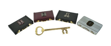 Unlocking a Career Path. Shown by an intricate key with several briefcases and locks to choose from - path included Stock Images