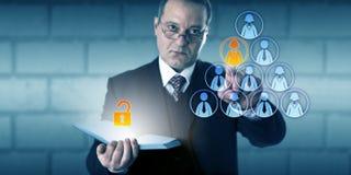 Файл работника директора Unlocking Доступа К HR Стоковая Фотография