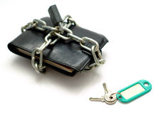 Unlocking money wallet sales Royalty Free Stock Photo