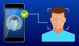 Unlocking smartphone with biometric facial identification, biometric identification, facial recognition system concept. Vector illustration for business stock illustration