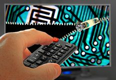 Unlocking your television potential unzip digital decode channels tv. Concept photo of unzipping or unlocking your tv potential security channels etc royalty free stock images