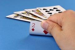 Unlucky. A man get a diamond 2 after black 10, J, Q, K Stock Photography