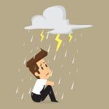 Unlucky businessman being wet from rain Stock Photos