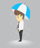 Unlucky businessman being wet from raining instead he holding um Royalty Free Stock Photography