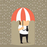 Unlucky businessman being wet from raining instead he holding um. Brella, misfortune.vector Stock Images