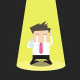 Unlucky businessman crying alone in spotlight. Vector illustration Stock Photography