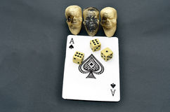 Unlucky card with Dice. Unlucky ace of spades  with Dice Stock Image