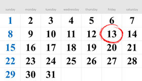 Unlucky Day. Thirteenth circled in red on the calendar royalty free illustration