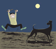 Unlucky Dog. Cartoon illustration of a man trying to chase away a black dog Royalty Free Stock Photos