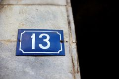 Unlucky house number thirteen. The unlucky house number thirteen Royalty Free Stock Photo