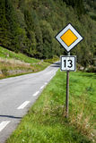 Unlucky or lucky road. Rural asphalt road number 13 sign Royalty Free Stock Photos